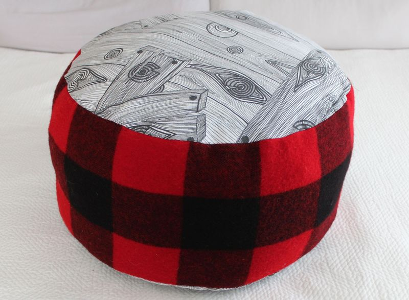 Maya made buffalo check pouf 2