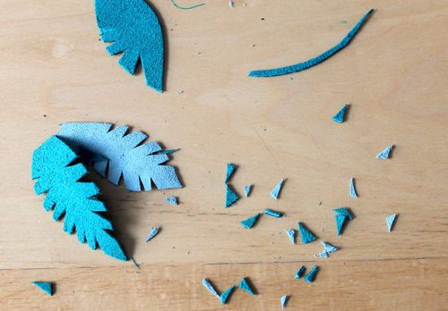 Blue Leather Feathers in Progress
