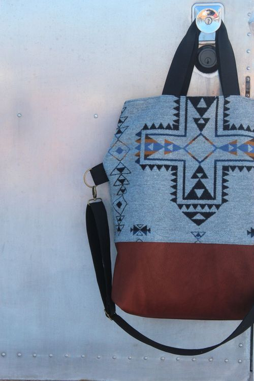 Pendelton and Leather Bag Close Up