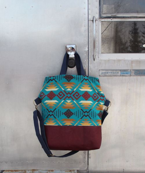 Blue and Burgundy Pendelton Bag